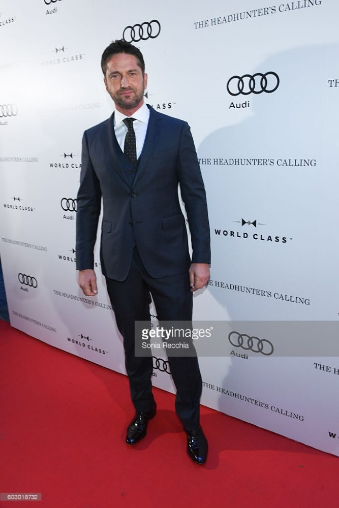 "GERARD BUTLER wore a 3 piece suit with black gancino tie and black lace-up Tramezza shoes, to a private event celebrating his film ""The Headhunter's Calling""."