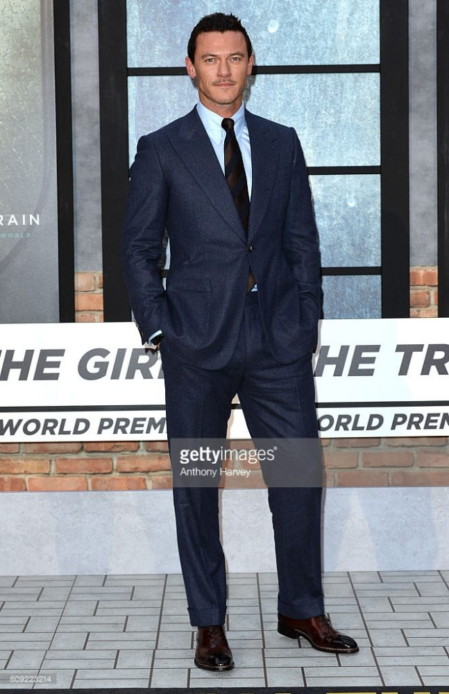 LUKE EVANS wore a pair of Made-To-Order Tramezza Special Edition lace-up shoes, in brown ombré calf with side stitching.