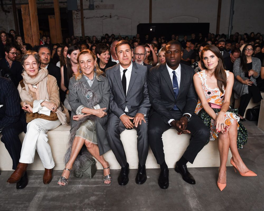 Milena Canonero, Miuccia Prada, David O. Russell, Sinqua Walls, Allison Williams, wearing Prada