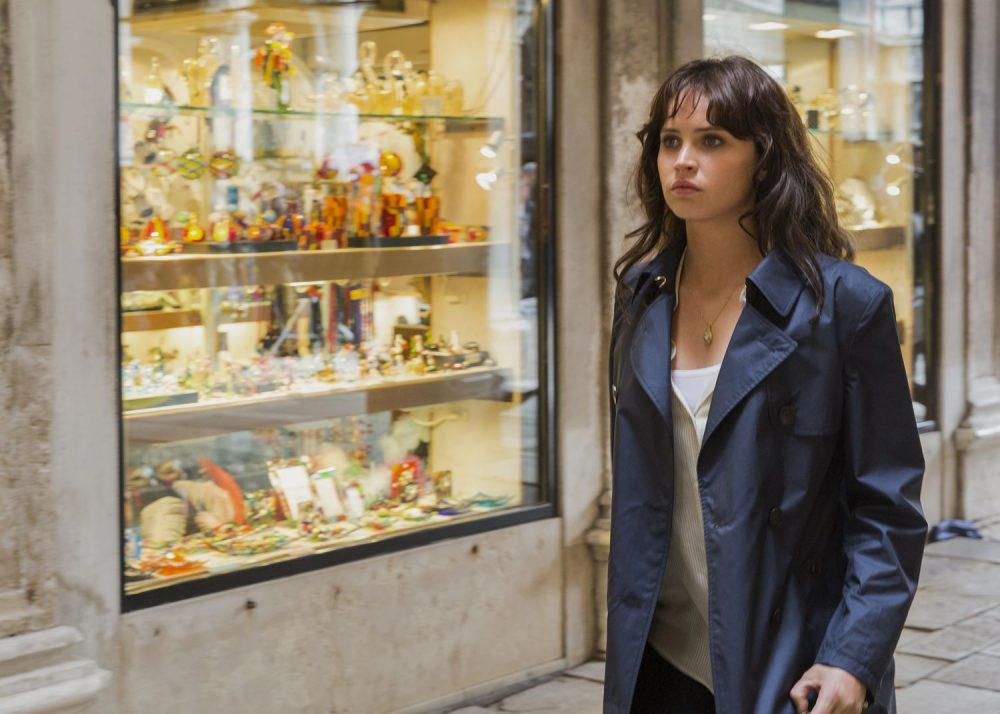 Sienna (Felicity Jones) takes in St. Marks Square in Columbia Pictures' INFERNO.