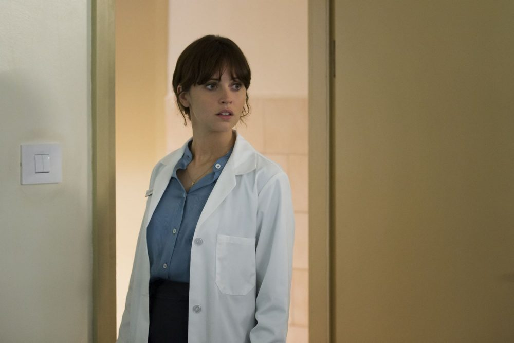 Dr. Sienna Brooks (Felicity Jones) tells Langdon how he arrived at hospital in Columbia Pictures' INFERNO.