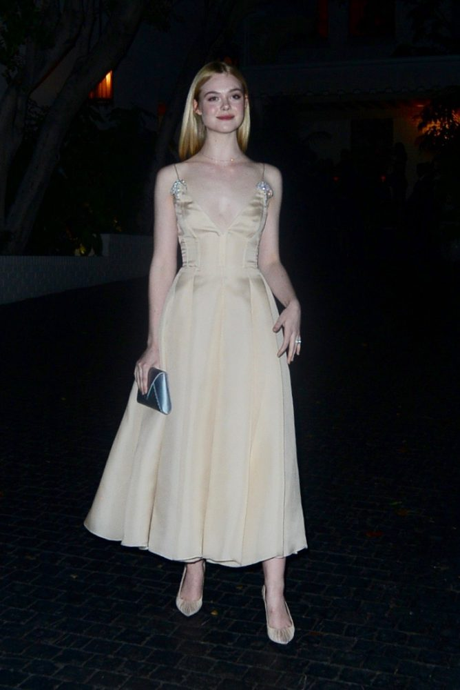 Elle Fanning at Chateau Marmont for Golden Globes party. Pictured: Elle Fanning Ref: SPL1418462  080117   Picture by: Aficionado Group  / Splash News Splash News and Pictures Los Angeles:310-821-2666 New York:	212-619-2666 London:	870-934-2666 photodesk@splashnews.com